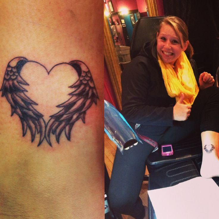with wings tattoos on ankle angel wing tattoos on both heart shaped    Heart Tattoos On Ankle