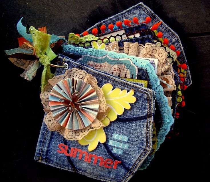 Chrissy's totally clever recycled blue jeans pockets mini book.