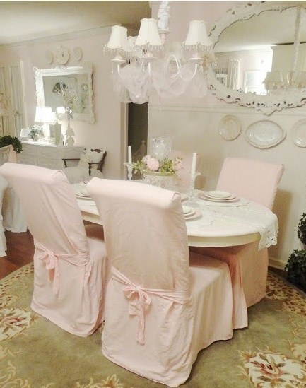 Pin by missy cuneo on slipcovers pinterest - Shabby chic dining room chair covers ...