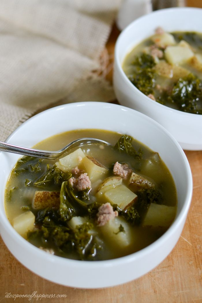 Tuscan Turkey Sausage Kale Soup. This simple #soup only requires a few ...