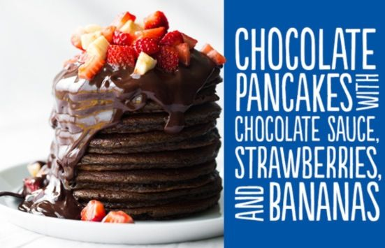 Chocolate and Strawberry Pancakes with Chocolate Sauce