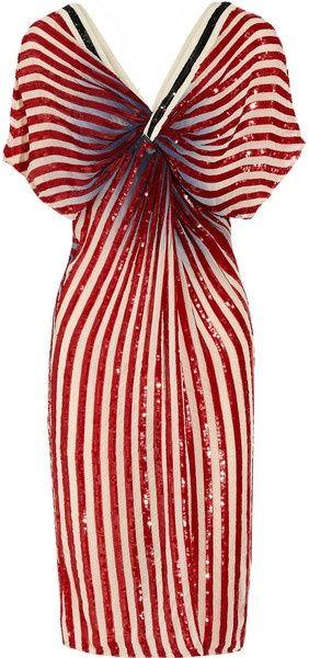VINEET BAHL, Sequined Knoteffect Chiffon Dress