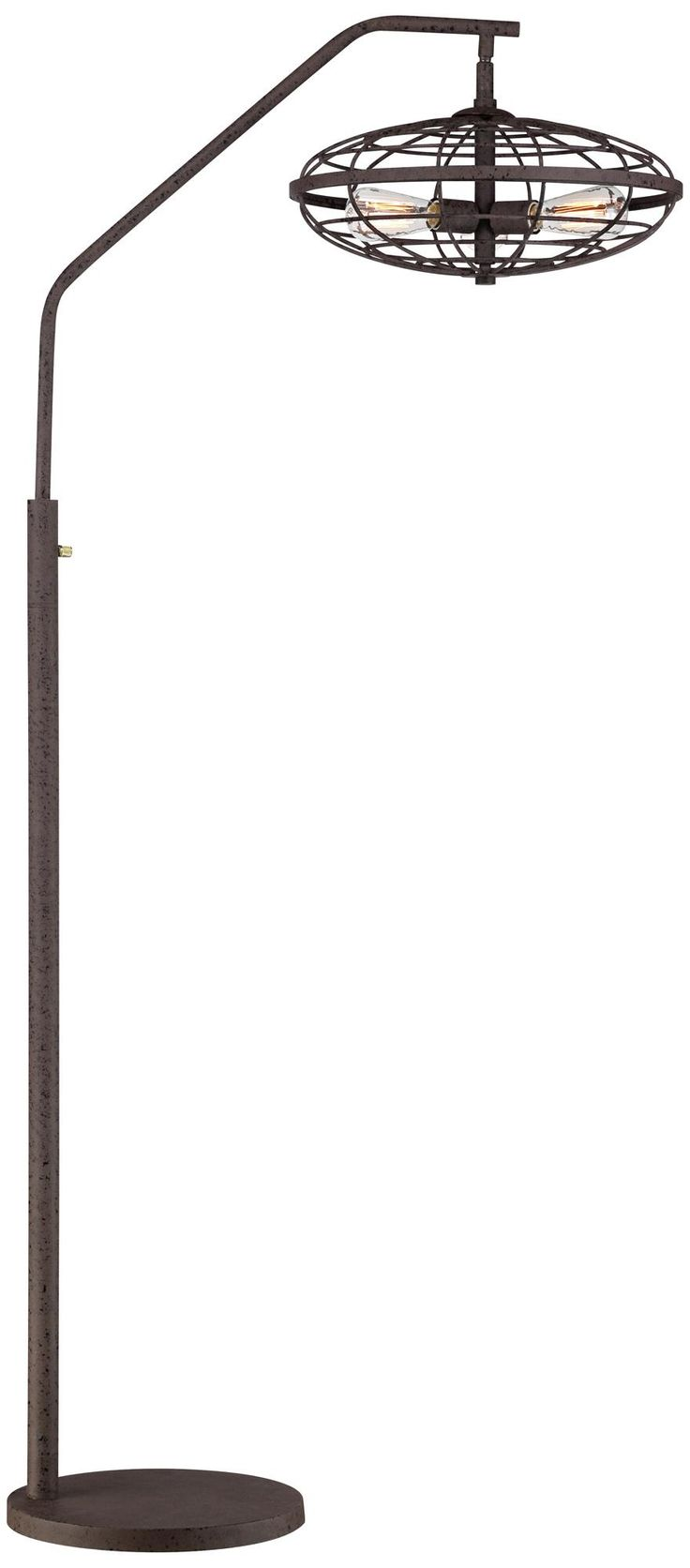 industrial cage 3 light arc rust floor lamp With industrial cage 3 light arc rust floor lamp