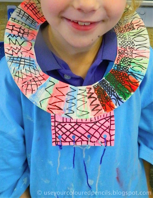 Maasai necklaces. Great cultural craft for kids. Use Your Coloured Pencils