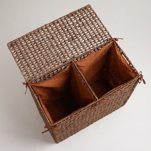 Brown seagrass divided hamper for my apartment pinterest - Divided clothes hamper ...
