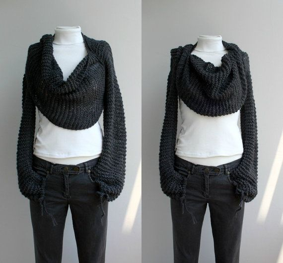 FREE Shipping Long Sleeve Charcoal Bolero Scarf Shawl ...