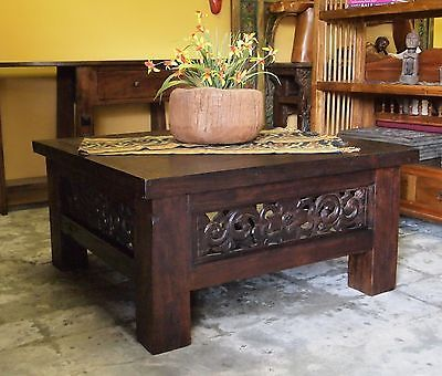 Square Carved Panel Teak Coffee Table Indonesian Bali Indian Style F