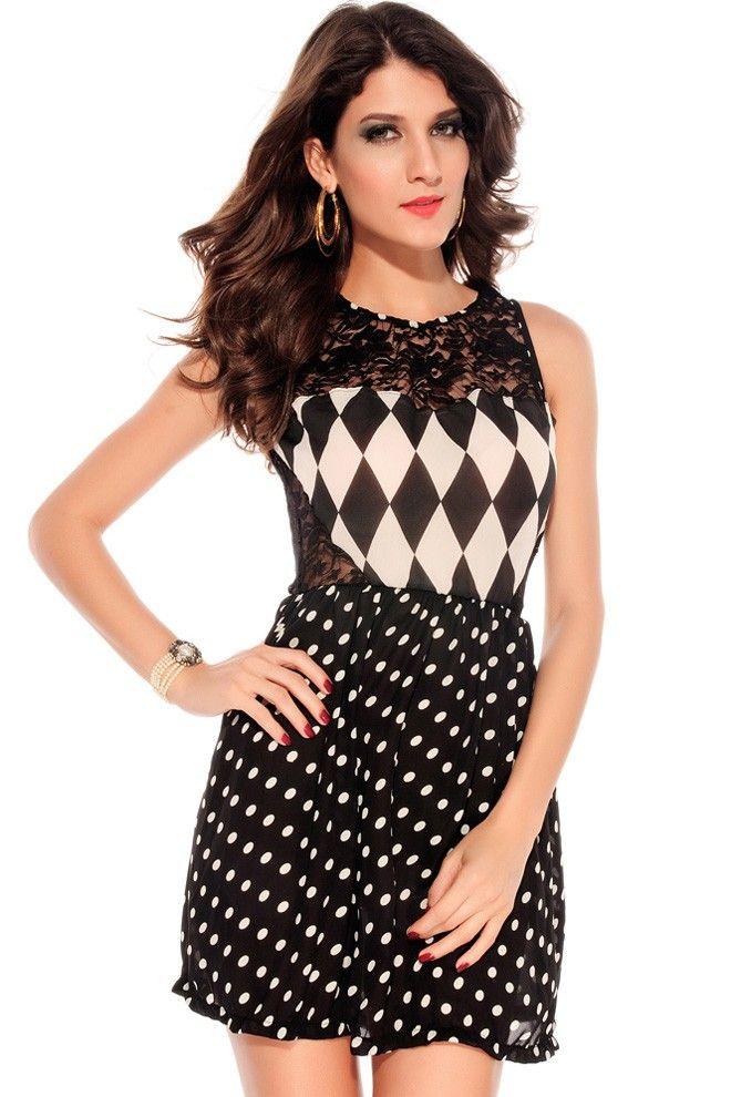 Women's Lace Dots Sheer Fashion Dress One Color Black -$9.75