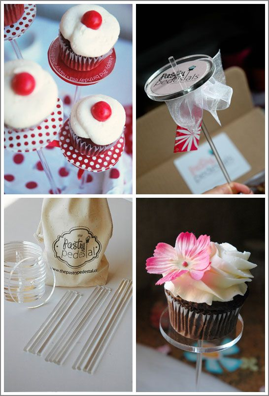 The Pastry Pedestal is a clear, dainty stand to display and personalize any petite pastry.  From cupcakes and petit fours to macarons, truffles and more, these stands will elevate your treats to the next level.  The transparent stand can be customized with decorative paper to coordinate with any event.  Or simply use as is for an elegant, modern display.