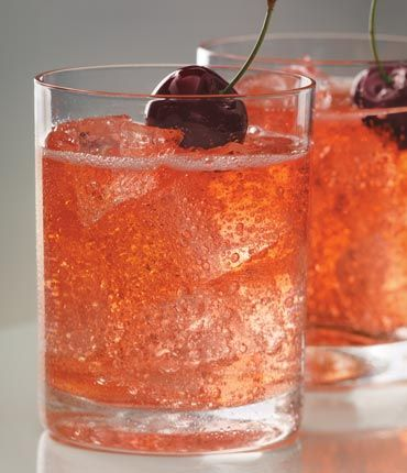 """GREY GOOSE Cherry Noir """"Cherry Moon"""" ~ A grown up Shirley Temple! 1.5 parts Cherry Noir vodka, 3.5 parts lemon-lime soda (7 up), 0.5 part grenadine. Pour over ice in order listed, garnish with cherry. YUM!"""