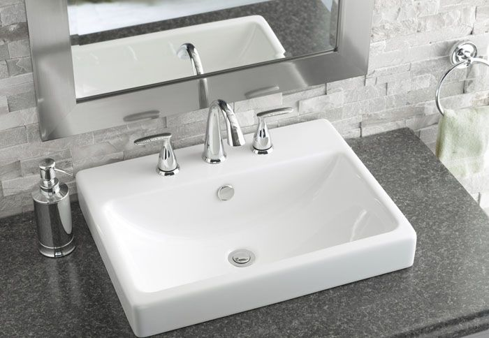 modern square sink, grey and white tile, silver mirror surround