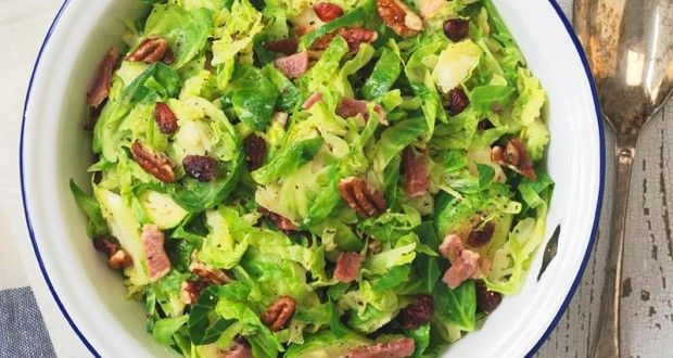 Shredded Brussels Sprouts with Bacon, Pecans and Dried Cranberries ...