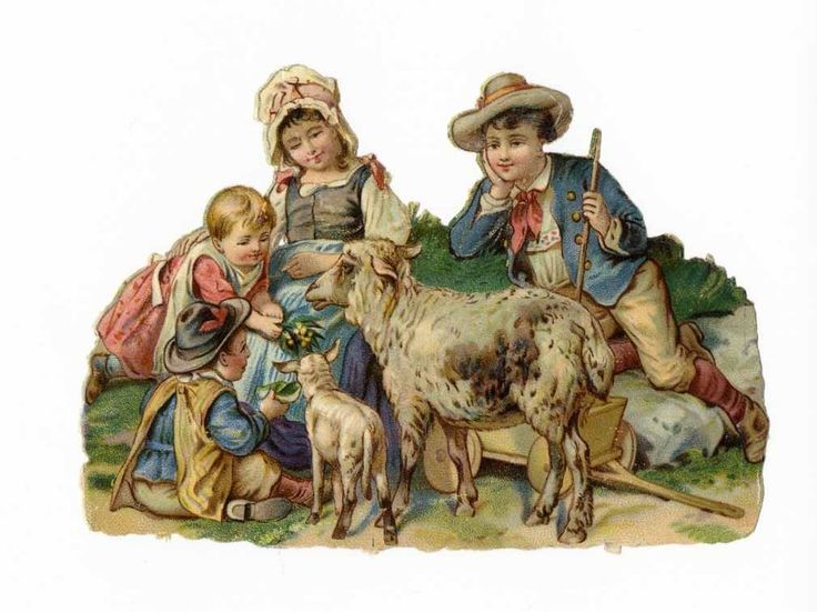 CHILDREN and SHEEP Victorian Die Cut - 1880's - Farm Life picclick.com