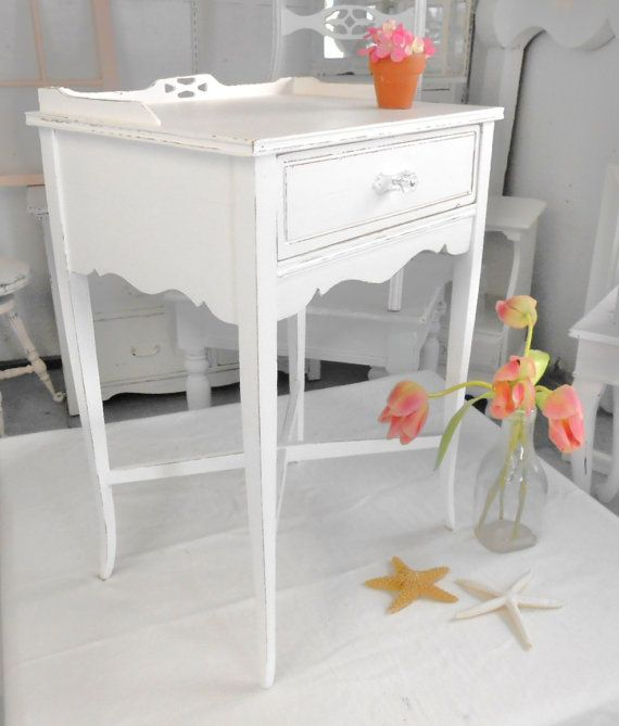 Reseved for emily night table end table shabby chic - White shabby chic furniture ...