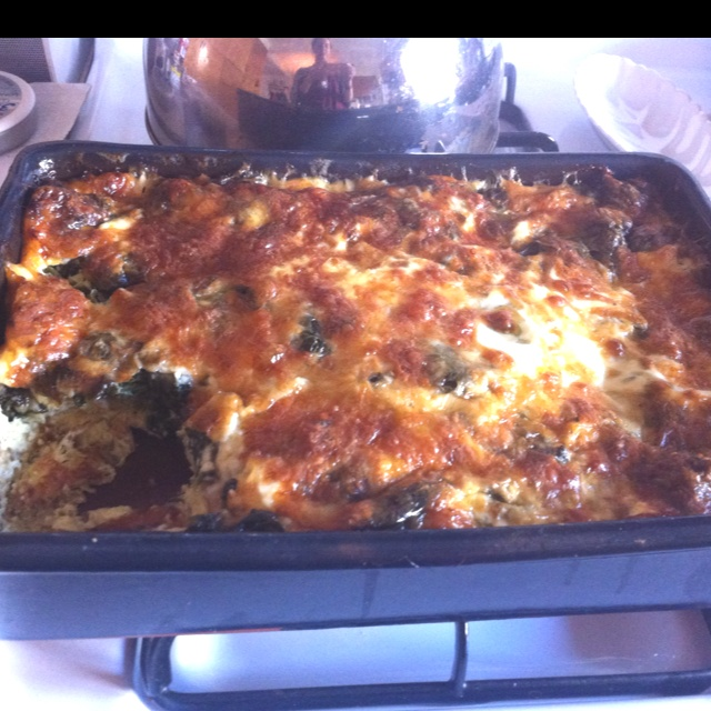 Egg strata. Went with Cooks Illustrated recipe, shalots, spinach ...