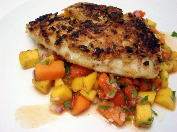 Macadamia nut crusted tilapia with mango-papaya salsa