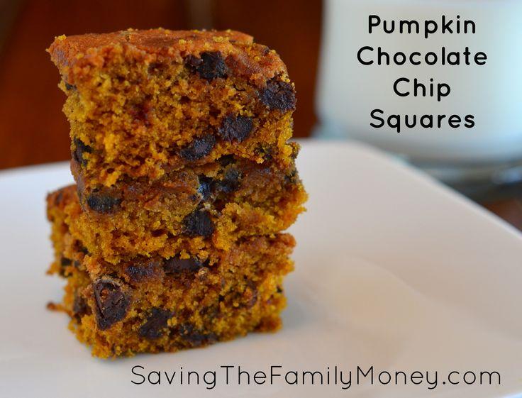 Pumpkin Chocolate Chip Squares Via SavingTheFamilyMoney.com #Pumpkin # ...