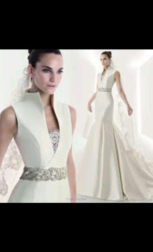 High collar wedding dress wedding ideas pinterest for Wedding dress with high collar
