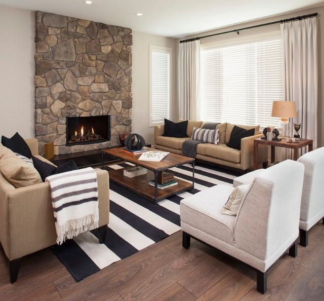 Monochromatic living room for the home for Living room decor ideas houzz
