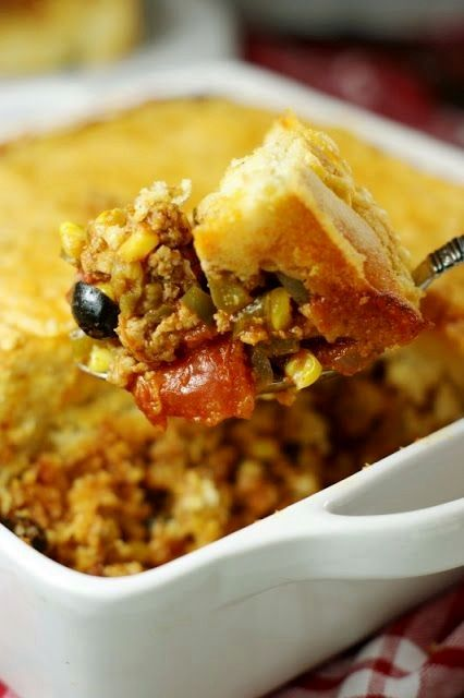 Tamale Pie Casserole ~ spicy ground turkey & vegetable filling topped ...