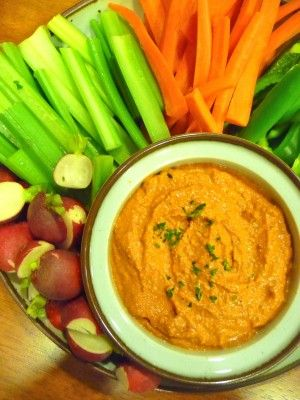 Roasted Red Pepper Dip with Walnuts and Chickpeas   Recipe