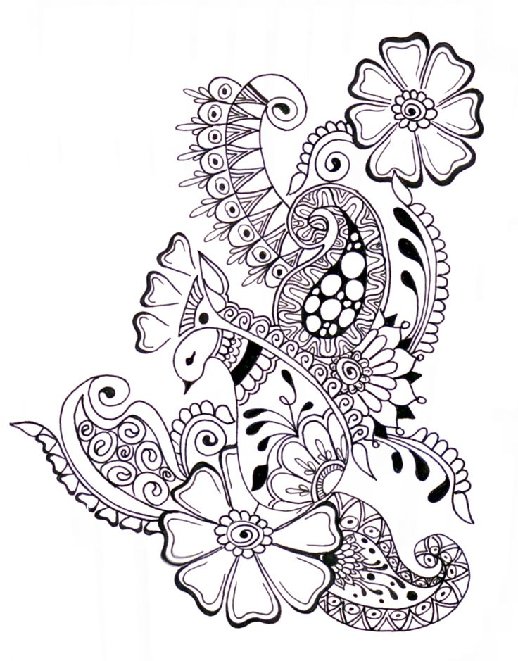 Zentangle Flower Tattoo Pin Paisley Coloring P...