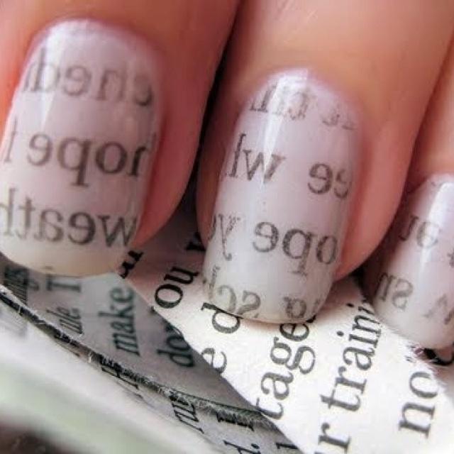 News paper nail art | Nail Art | Pinterest
