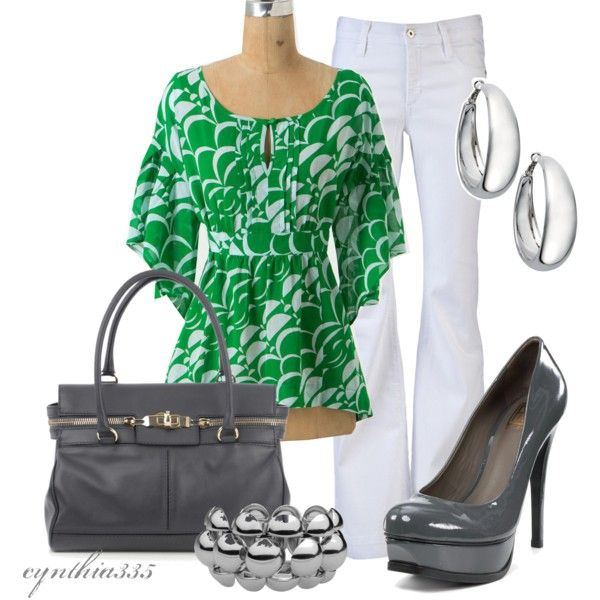 """Green and Gray"" by cynthia335 on Polyvore"