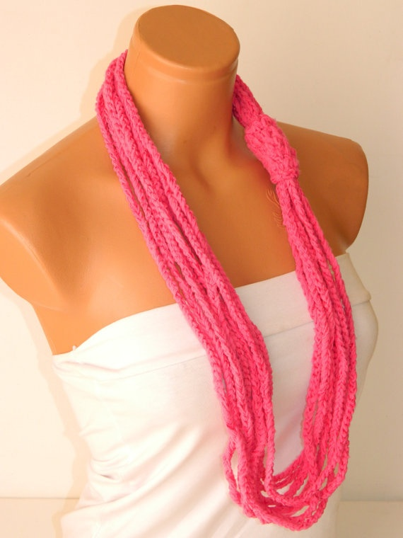 $15.00Pink  Crochet Scarf Necklace, Latest Fashion Scarf Necklace, Personalized Design....