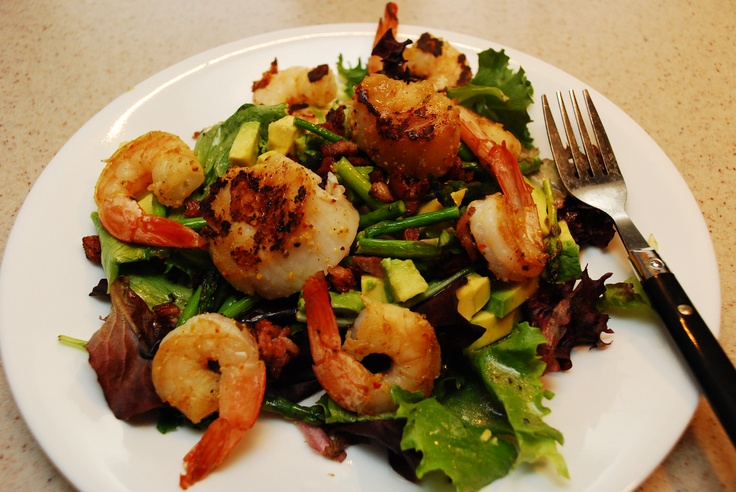 Mixed Greens Salad with asparagus fried with bacon bits, grilled ...