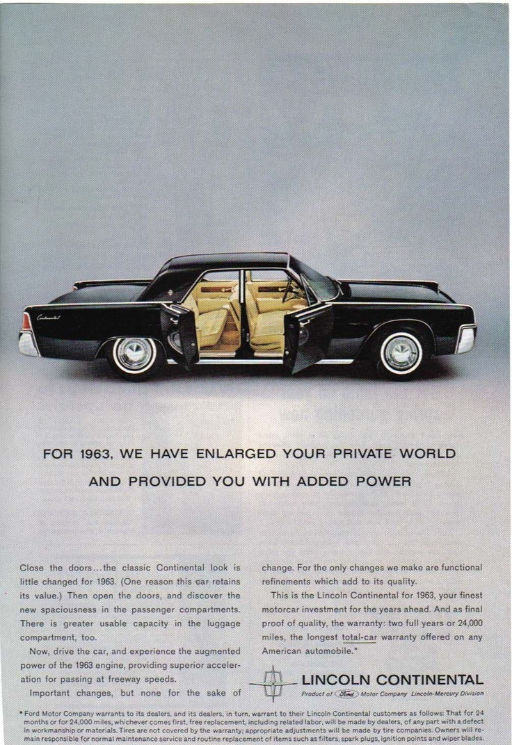 1963 lincoln continental ad stylish rides pinterest. Black Bedroom Furniture Sets. Home Design Ideas