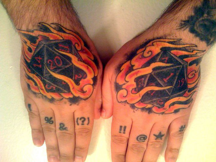 board game with 20 sided die tattoo