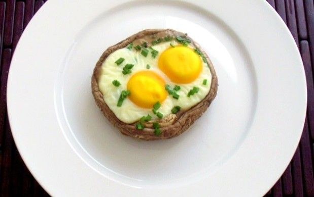 Baked Eggs & Herbs in Portabella Mushroom Caps