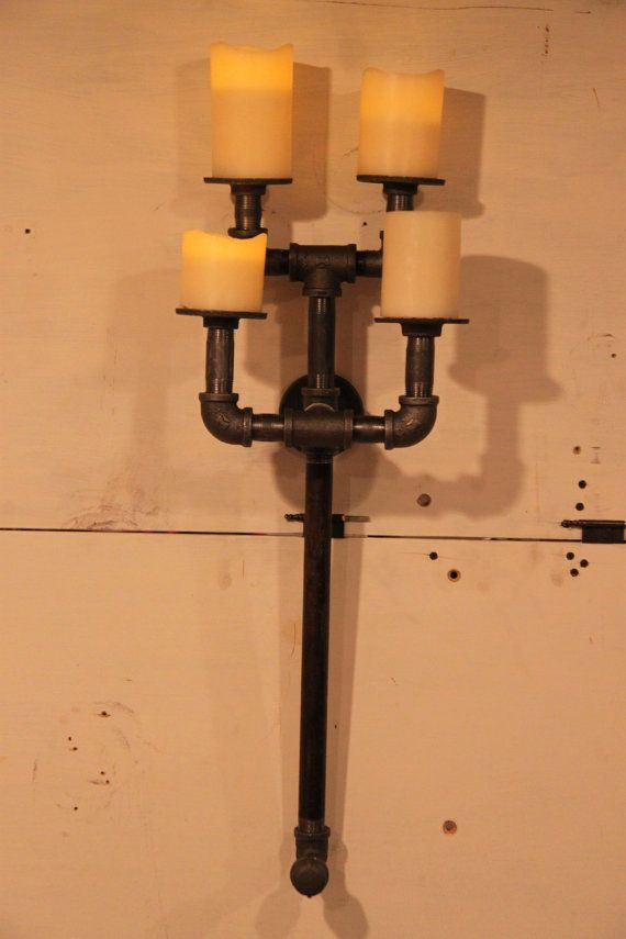 Industrial Candle Wall Sconces : Industrial pipe candle holder wall sconce 4.1