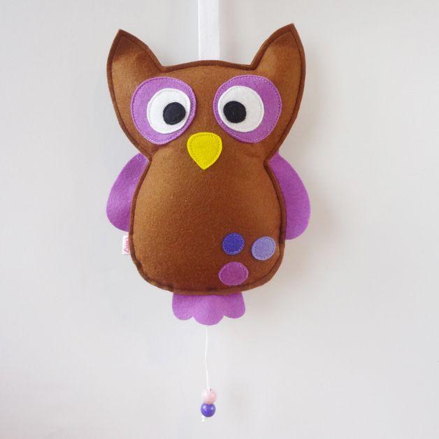 Owl music box purple
