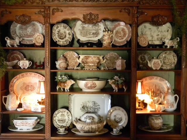 this is for Sis, she has the most beautiful collection  ~ Cabinet of Brown Transferware