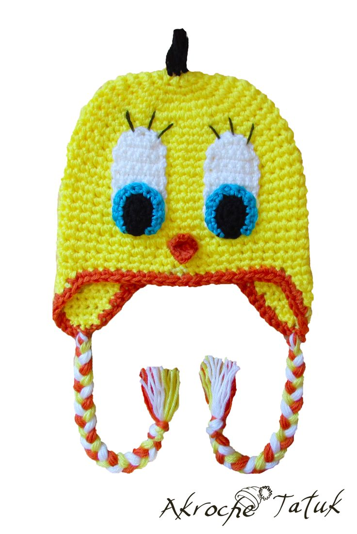 Tuque Tweetie Tweetie crochet hat crochet hats Pinterest