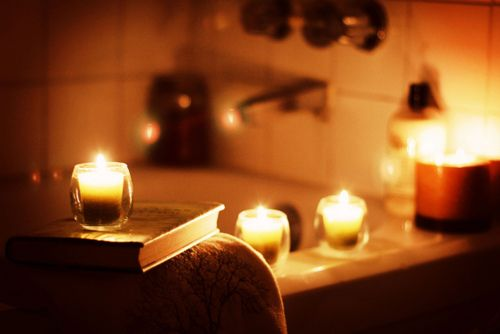 Candlelit bubble bath...i love!