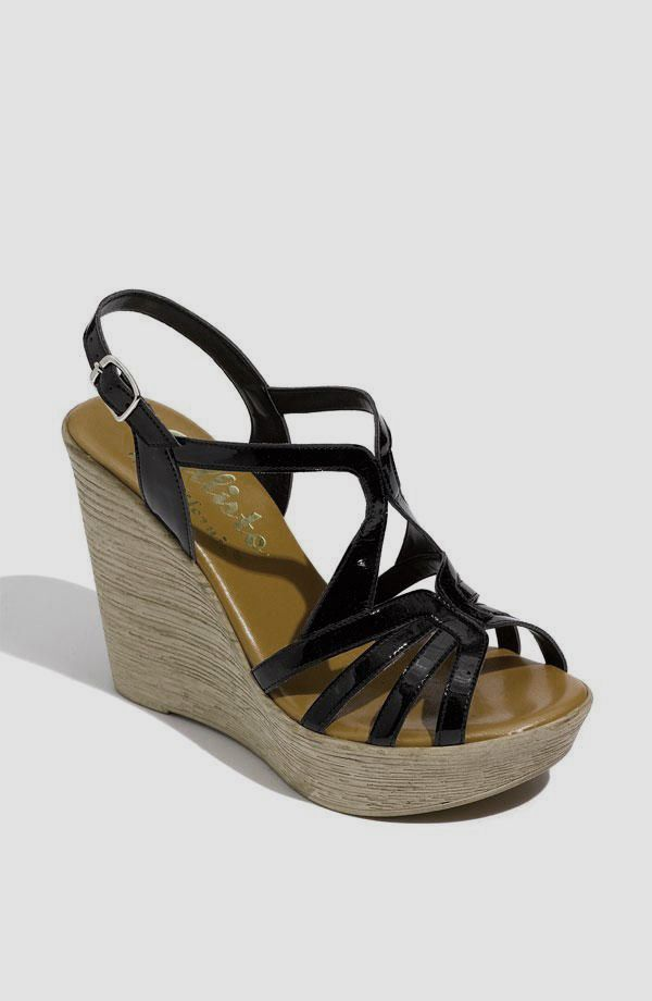 black strappy wedges shoes