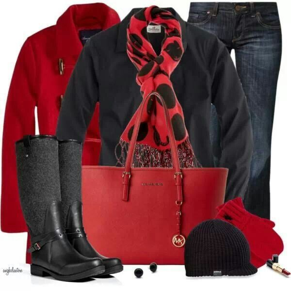 Black And Red Winter Outfit | My Style | Pinterest