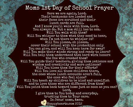 Mom's 1st Day of School Prayer