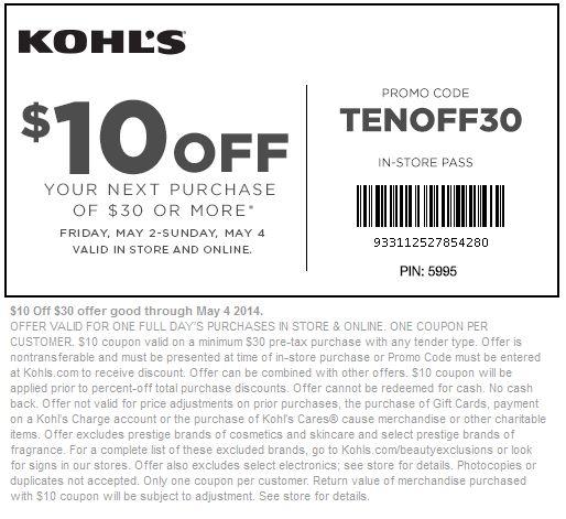 30 off kohls coupon may 2018
