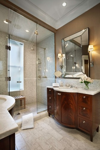 Two vanities, large walk-in shower..   I like this alot... will have to do this in my DREAM house!