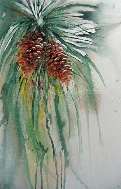 D haggman watercolors pine cones pinterest for How to paint pine cones for christmas