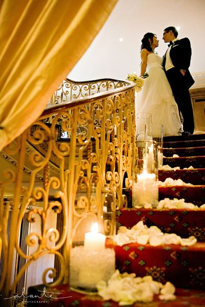 Candle lit staircase at Fairmont Hotel Seattle Wedding