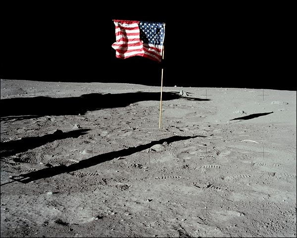 the us flag on the moon