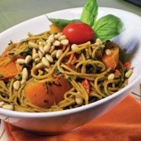 Angel Hair Pasta with Chard and Bell Pepper