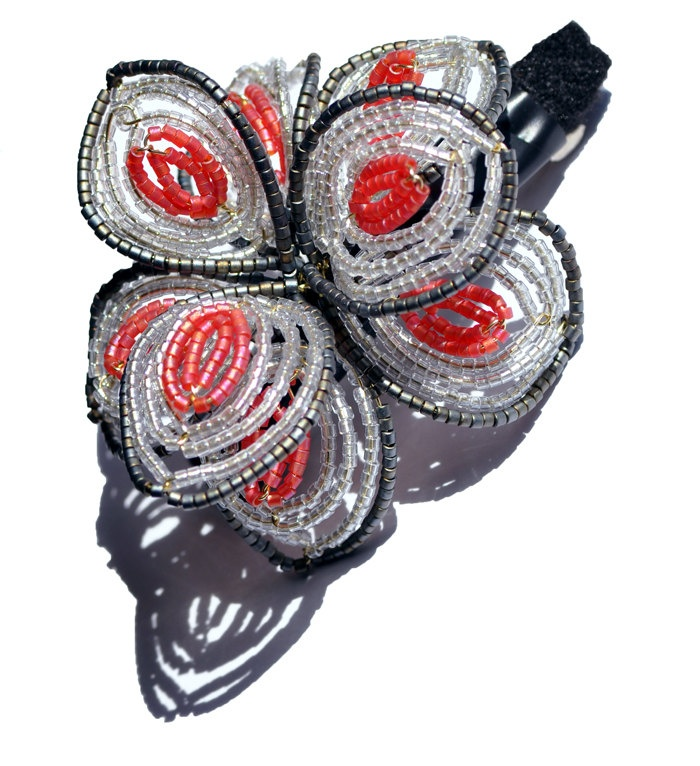 French Beaded Flower Barrette - Lady Barrette - Free Shipping.