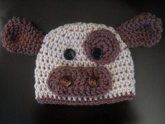 Crochet Pattern Cow Hat : Crochet Hat PATTERN - Baby Cow Hat Crochet Pattern ...