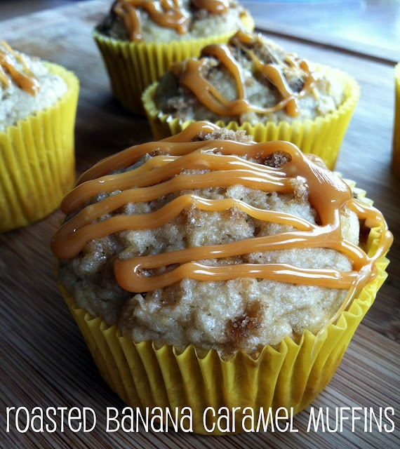 Roasted Banana Caramel Muffins | In the Kitchen | Pinterest